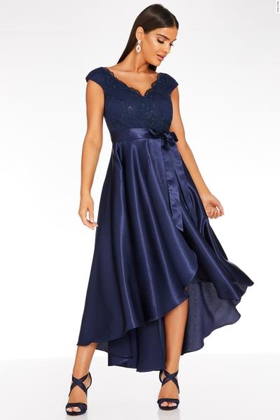 Navy Satin Dip Hem Dress